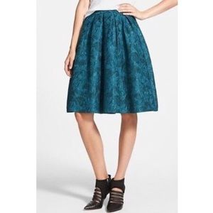 ASTR Teal Textured Flare Pleated Skirt Size XS